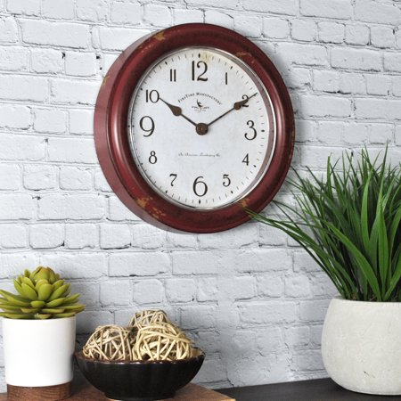 FirsTime & Co.® Red Patina Wall Clock Team Wall Clock