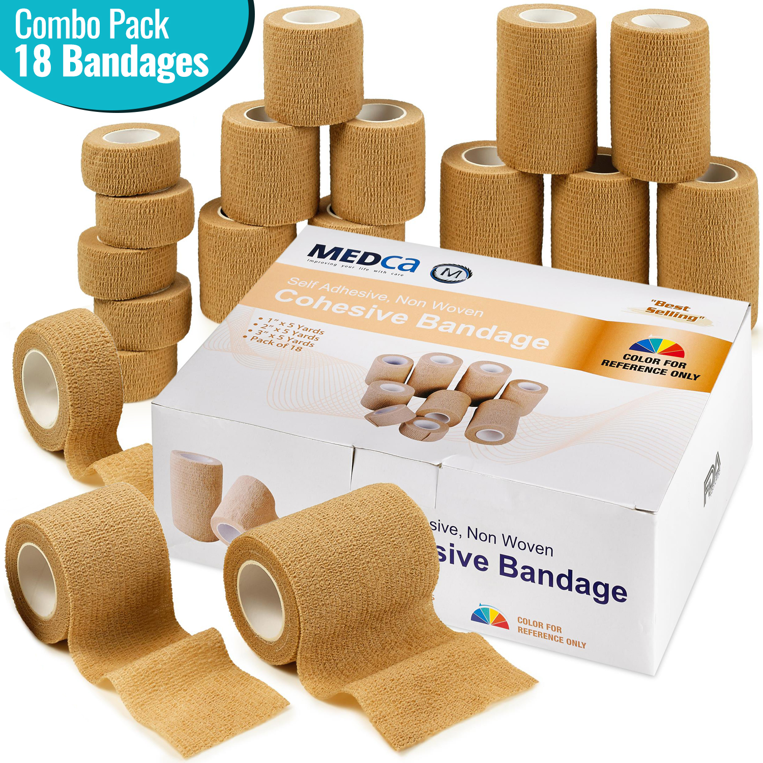 """MEDca Tape Wrap, Self Adherent Rap Tape, Adhering Stick Bandage, Self Grip Roll 1 Inche 2 Inch and 3 inch X 5 YARDS 6 of Each Size Total of 18 Rolls """"Skin Color"""""""
