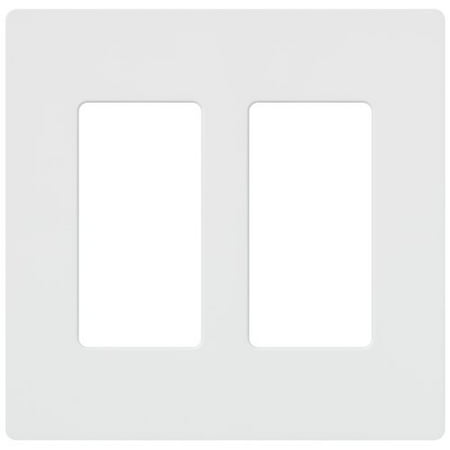 Lutron CW-2-WH Claro 2 Gang Screwless Dimmer Fan Control Large Opening Switches Wall plate White
