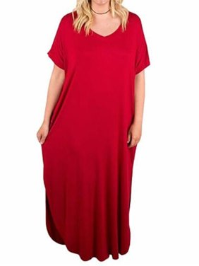 0abf623d622f Free shipping. Product Image V-neck Women Solid Color Plus Size Split Dress