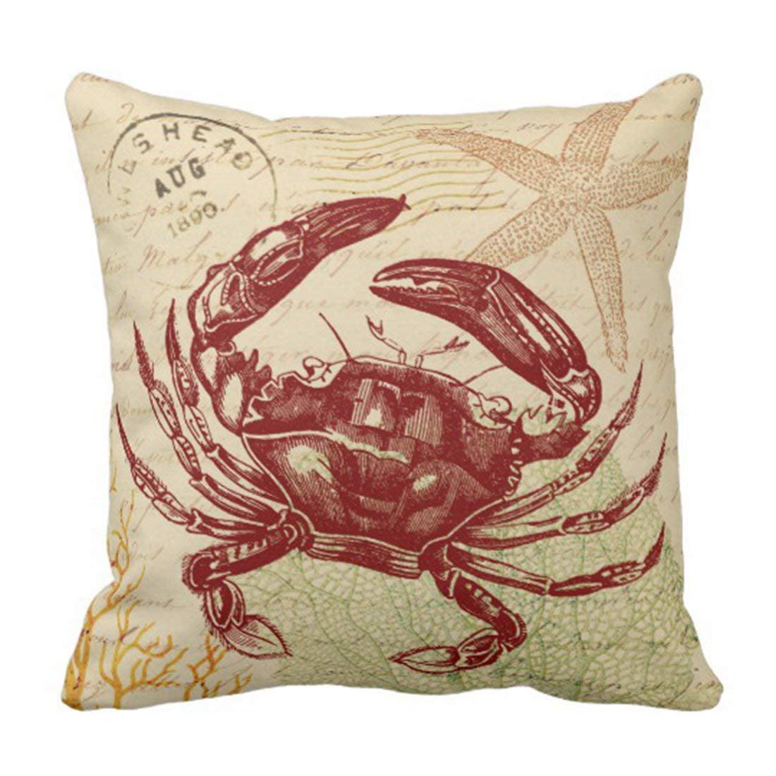 WOPOP Vintage Beach Seaside Red Crab Green Sea Pillowcase Cushion Cover 16x16 inches