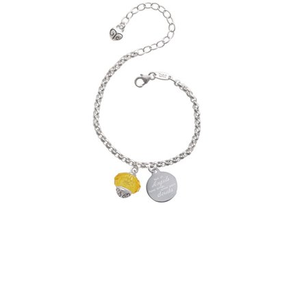 Yellow Faceted Glass Spinner Not All Angels Have Wings Some Wear Scrubs Engraved Bracelet