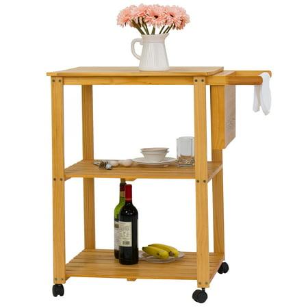 Kinbor Kitchen Cart On Wheels Wooden Trolley Work Island Storage W Cutting Board