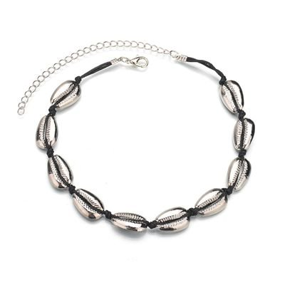 TURNTABLE LAB Shell Choker Necklace for Women Seashell Necklace Statement Adjustable Sea Shell Pendant Cord Bib Collar Necklace Bracelets Set Hawaiian Jewelr Shell Fashion Pendant