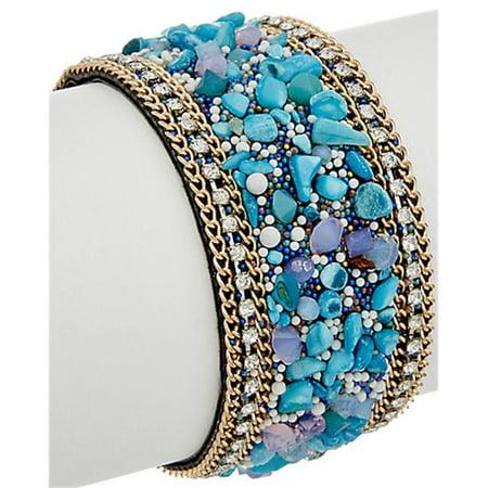 Crystal & Stone Magnetic Closure Bracelet, Turquoise ()