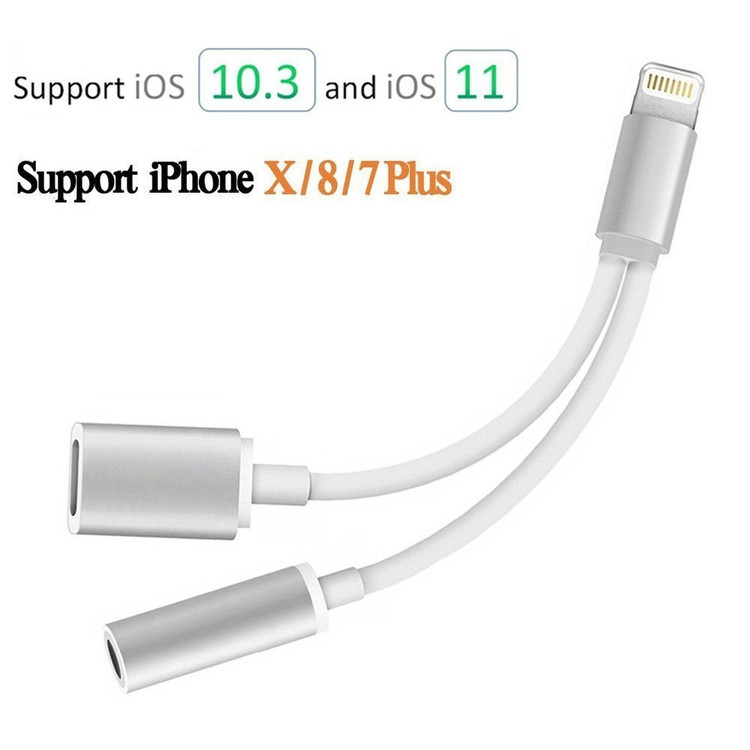 3.5mm Headphone Adapter,2 in 1 Lightning Cable 3.5mm Headphone Jack Adapter Lightning Charging Adapter for iphone X iphone 8/8Plus iphone 7/7Plus adapter(Silver)