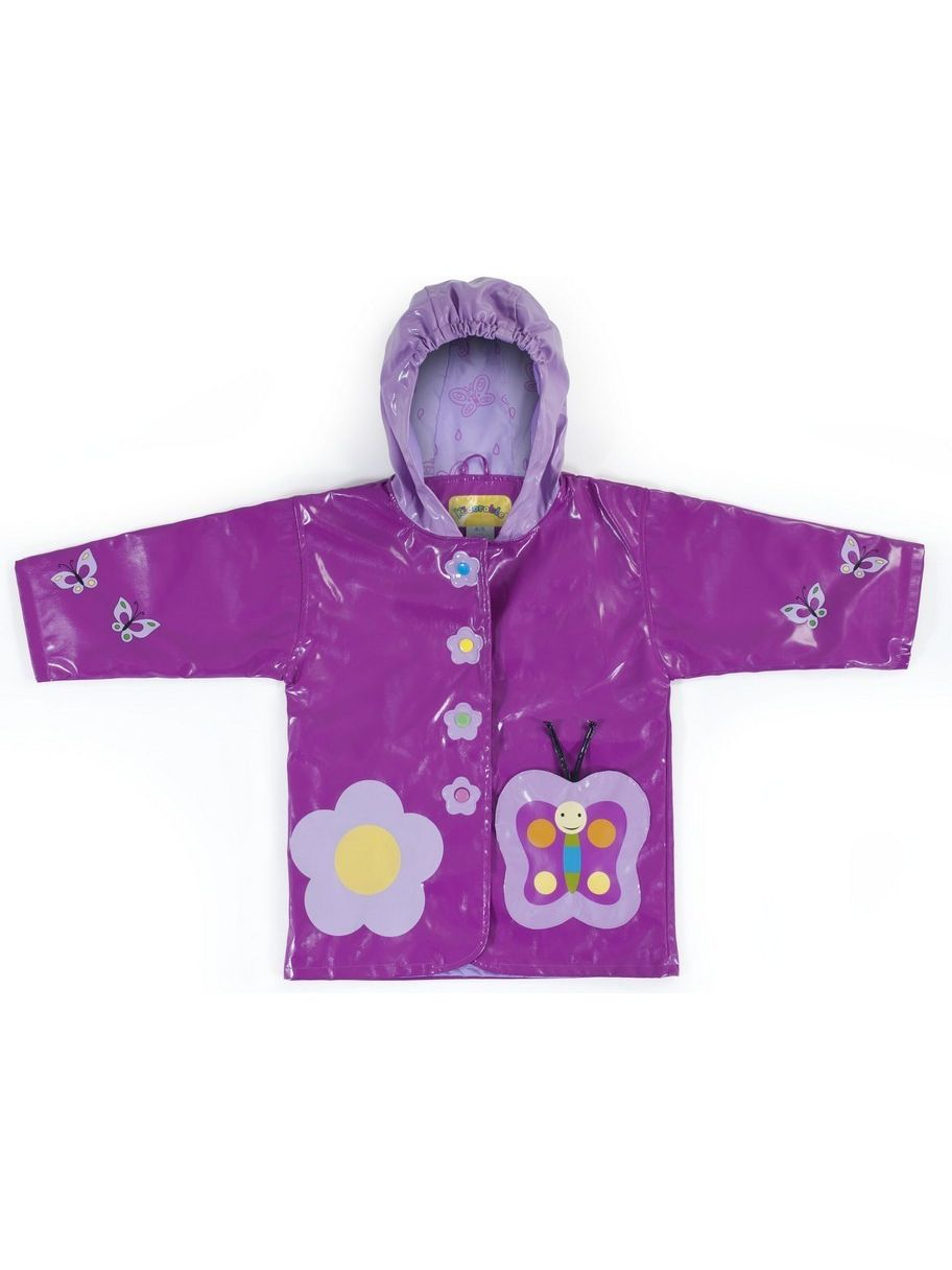 Kidorable Baby Girls Purple Butterfly Flower Hooded Rain Coat 12-18M