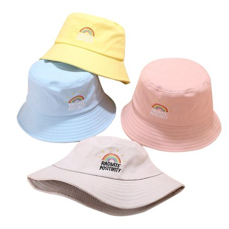 Creative Adults Rainbow Embroidery Fisherman Hat Unisex Foldable Bucket Hat Simple Style Student Outdoor Sun Protection Hat - image 1 de 1