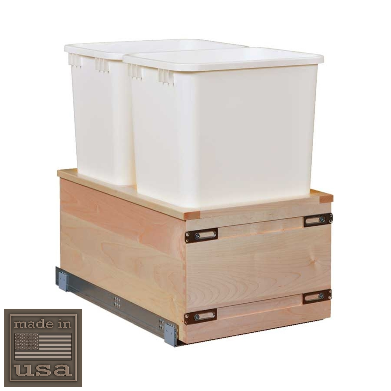 """Century Components SIGBM14PF-50 Kitchen Pull Out Waste Bin Container - 50 Qt White Double - Maple - Soft Close Bottom Mount, 14-7/8"""""""