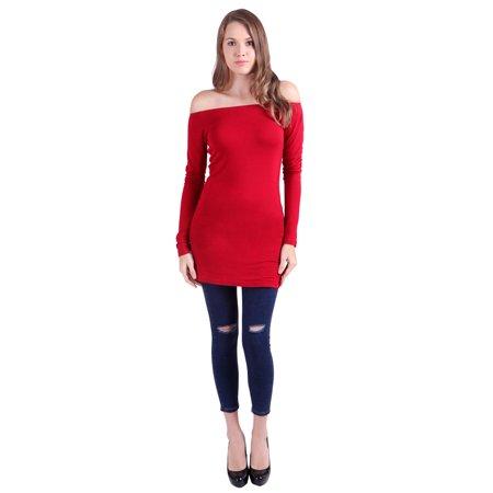 28a99e64a4b384 HDE - HDE Womens Casual Long Sleeve Off Shoulder Top Bardot Neck Blouse (Red)  - Walmart.com