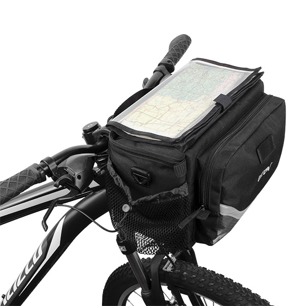 BV Bicycle Map Sleeve Quick-Release Handlebar Bag with Two Mesh Pockets