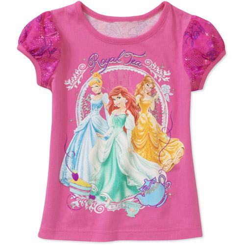 Baby Girls' Disney Princess Glitter Sleeve Graphic Tee