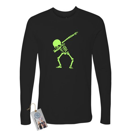 Dabbin Skeleton Halloween Shirt Sarcastic Mens Long Sleeve T-Shirt