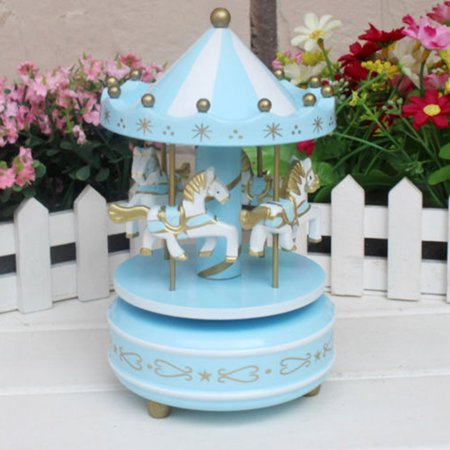 (Wooden Merry-Go-Round Carousel Music Box Kids Toys Gift Wind-Up Musical Box Music Box)
