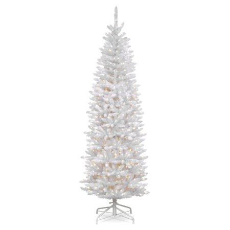 National Tree Pre-Lit 7' Kingswood White Fir Hinged Pencil ...