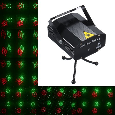 AC 110-240V LEDs Lasering Stage Light with Tripod 6 Patterns Sound-activated Red & Green Light Patterns Stage Projector for DJ Disco Show Party Dance Lighting - image 7 of 7