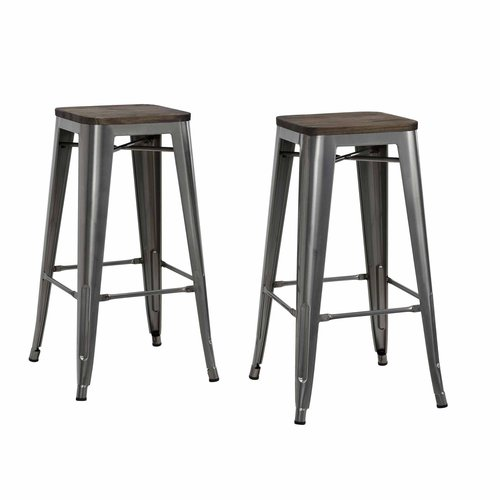 "Dorel Home Products Fusion 30"" Metal Backless Bar Stool with Wood Seat, Set of 2, Multiple Colors"