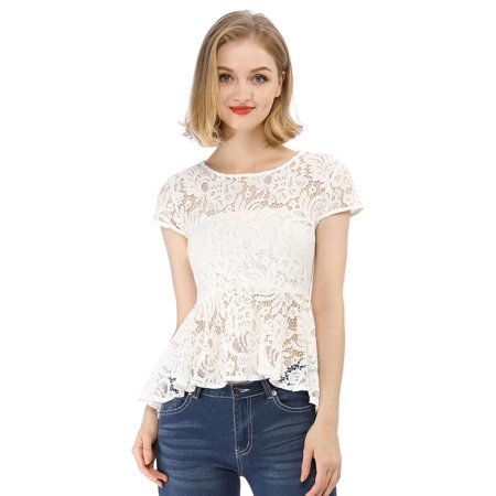 Women's Cap Sleeves High Low Hem Lace A Line Peplum Top White M (US 10) (Lined Lace Top)