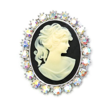 Gorgeous Rhinestone Crystal Pin Brooch Portrait Cameo Vintage Style - AB
