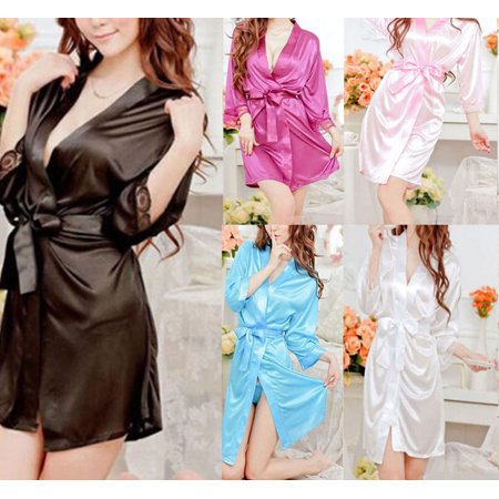 Women plain Silk Satin Robes Bridal Wedding Bridesmaid Bride Gown bath robe USA