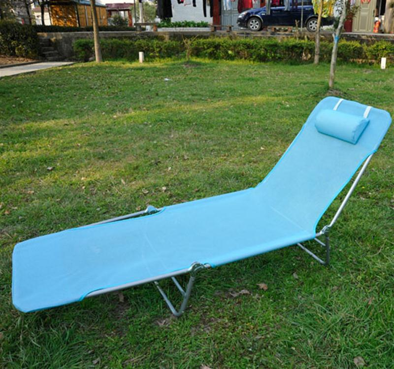 Outsunny Adjustable Reclining Beach Sun Lounge Chair   Blue