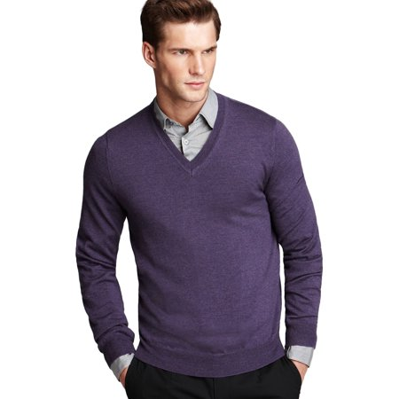 BLOOMINGDALES Viola Purple V-Neck Sweater XXL 2XL Fabric By Zegna ...