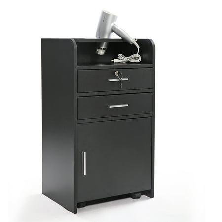 File Trolley (JAXPETY Beauty Salon Wood Rolling Drawer 3-layer Cabinet Trolley Lock Barber Storage Black)