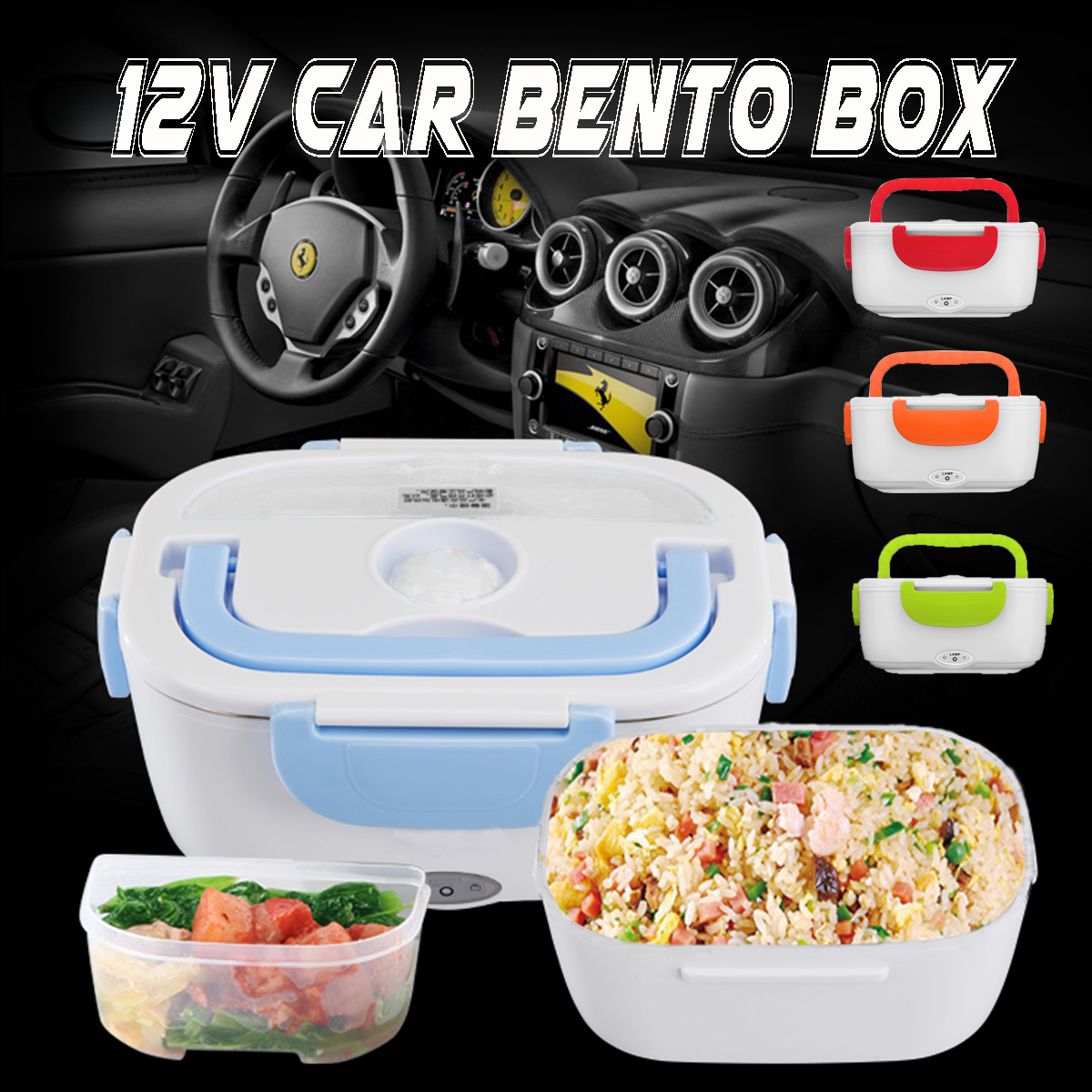 Boat Car and RV Use Electric Heating Meal Lunch Box Rice Container Food Warmer with 12V-24V Car Plug Adapter