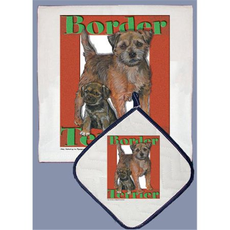 Pipsqueak Productions DP511 Dish Towel and Pot Holder Set - Border Terrier