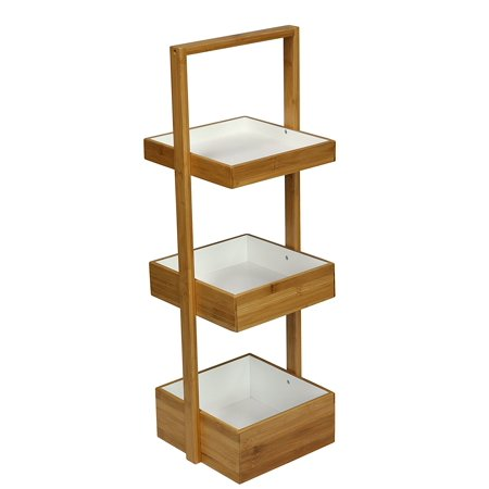 - eHemco 3 Tier Bamboo Multi Purpose Caddy/Shelf Storage Organizer Natural & White