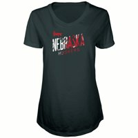 Women's Russell Athletic Black Nebraska Cornhuskers Tunic Cap Sleeve V-Neck T-Shirt