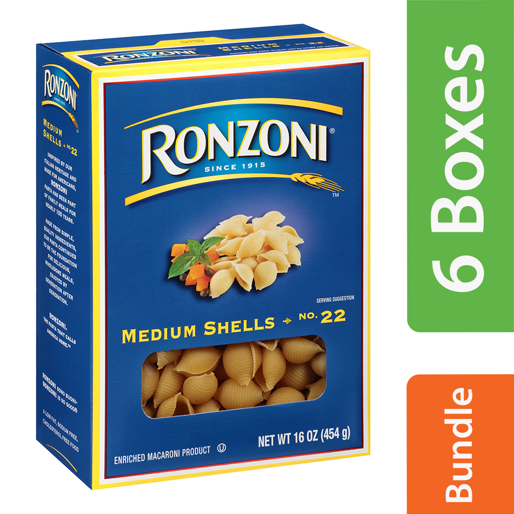 Ronzoni Medium Shells No. 22 Enriched Macaroni Pasta 16 oz (6 Packs)
