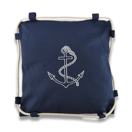 Navy Blue Embroidered Anchor Nautical Decorative Throw Pillow 15in.
