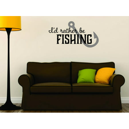 Custom Wall Decal Sticker I D Rather Be Fishing Quote Mens Wildlife Outdoor Sports Home Decor Picture Art 20x30 Inches