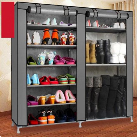 Zimtown Double Shoe Boot Closet Rack Shelf Storage Organizer Cabinet Portable-  9 Lattice