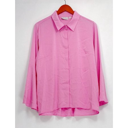 Joan Rivers Classics Collection Top M Tulip Slv Button Front Blouse Pink A304195