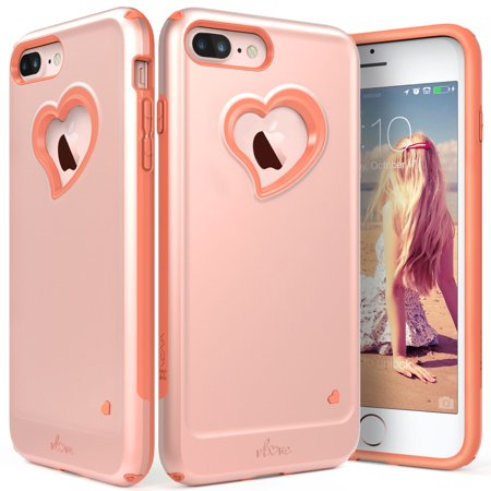 iPhone 8 Plus Case, iPhone 7 Plus Case, Vena [vLove][Heart-Shape | Dual Layer Protection] Hybrid Bumper Cover for Apple iPhone 8 Plus / 7 Plus