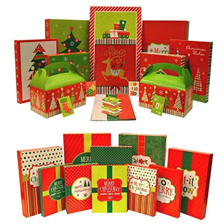 Christmas Gift Box Set & Christmas Holiday Multi Color Festive Gift Wrapping Shirt Boxes Set - Christmas Boxes
