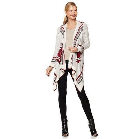 COLLEEN LOPEZ Aztec-Print Draped Cardigan IVORY / WINE Size X-Large XL