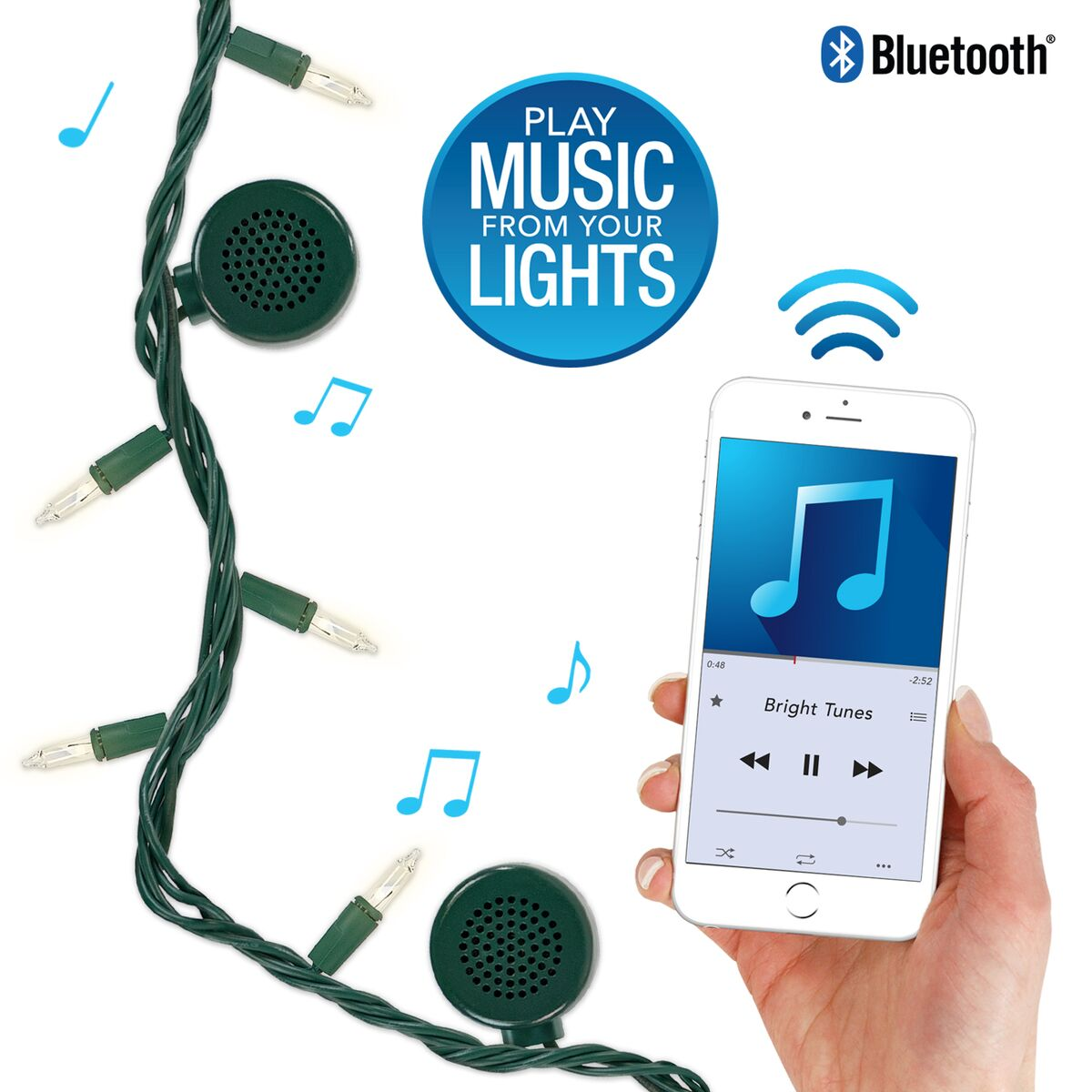 Bright Tunes Indoor Outdoor White Incandescent String Lights with Bluetooth Speakers, Green Cord by Innovative Technology
