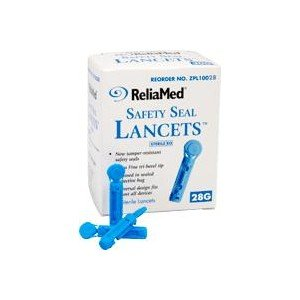 Safety Seal Lancets, 28g, 100 per box - Item - ZPL10028A, ReliaMed twist and cap lancets By Reliamed