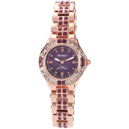 Armitron Women's Amethyst-Colored Swarovski Crystal Accent Rose Gold-Tone Watch