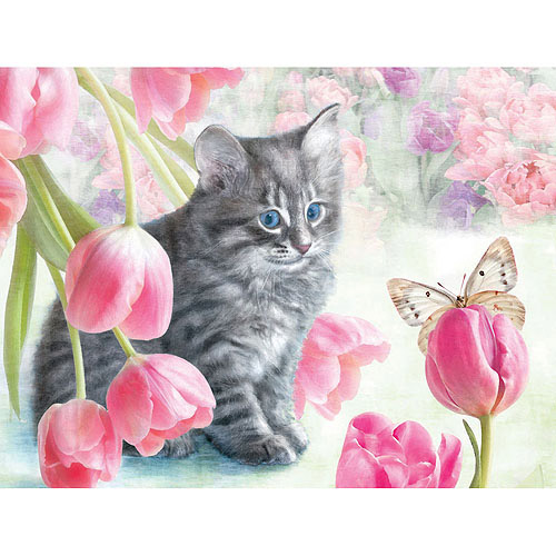 White Mountain Puzzles Cat & Tulips Puzzle, 300 Pieces