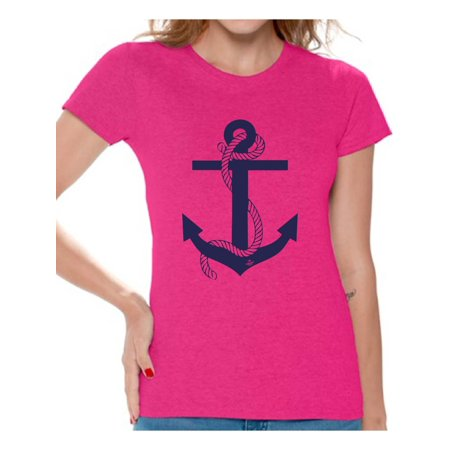 Awkward Styles Anchor T Shirt for Ladies Anchor Shirt for Women Sea Tshirt for Girls Sea Lovers Gifts Marine Themed Party Cute Gifts for Sailor Captain Clothes for Mom Marine