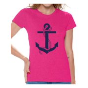 Awkward Styles Anchor T Shirt for Ladies Anchor Shirt for Women Sea Tshirt for Girls Sea Lovers Gifts Marine Themed Party Cute Gifts for Sailor Captain Clothes for Mom Marine Clothing Collection