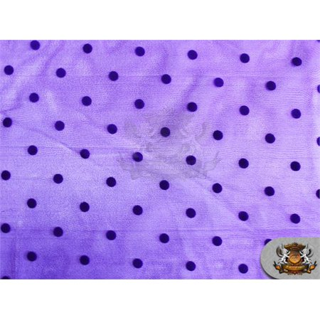 Organza Velvet Flock Polka Dots Fabric Purple / 60