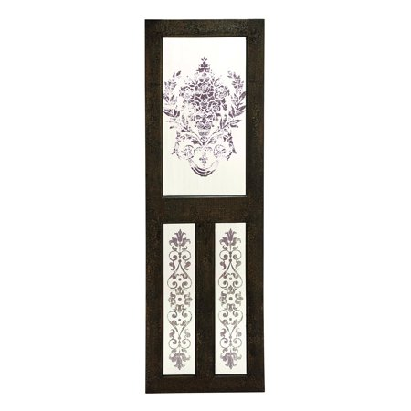Benzara Mirror Wall Decor with Floral Design
