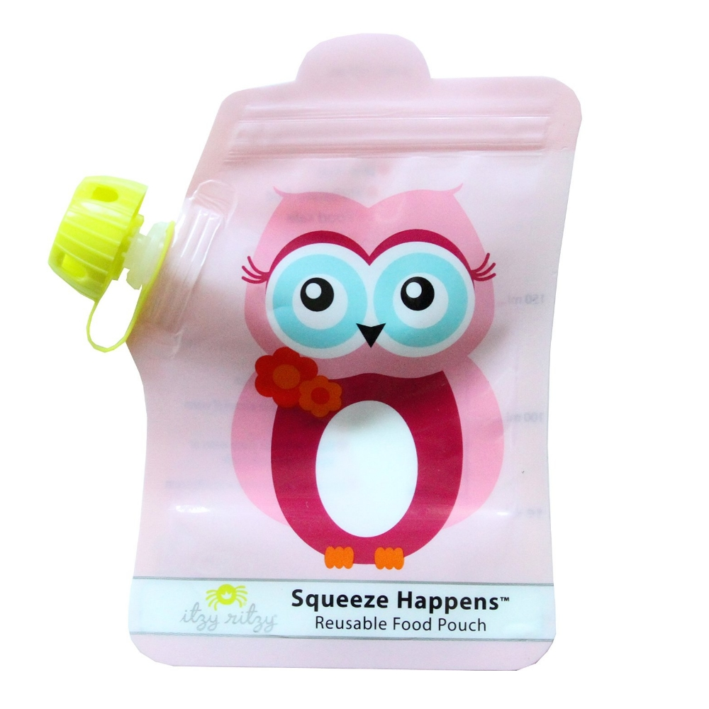 Squeeze Happens Reusable Food Pouch - Set of 2 - Owl
