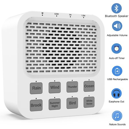 Remote Noise Maker (Portable 2000MAH Bluetooth Speaker, Rechargeable Baby White Noise Machine Auto-Off Timer 8 Natural Soothing Sounds Sleep Sound Therapy Machine Noise Maker Sleeping Relaxation- Adult Home Office)