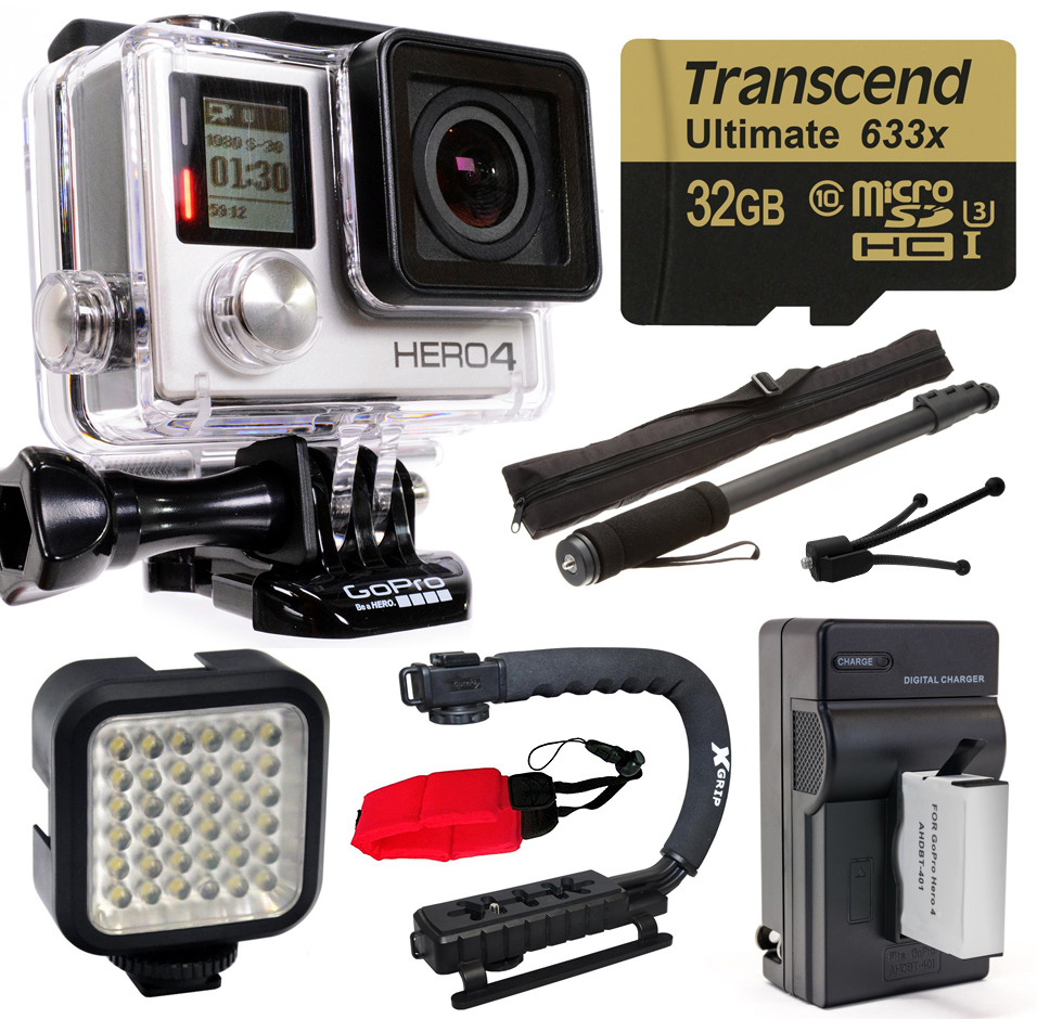 GoPro HERO4 Hero 4 Silver Edition 4K Action Camera with 3...
